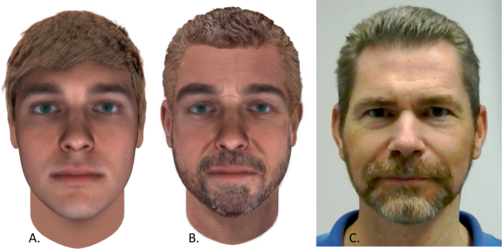 Three faces: one aged 25, one aged 52 with a beard, and    an actual photo of the subject