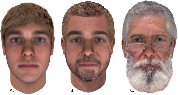 Three faces: one normal at 25, one with a beard at 52, and one with a beard at 75