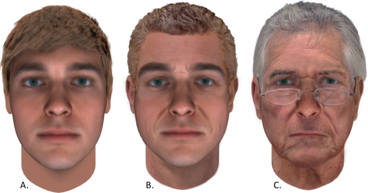 Three faces: the predicted composite at age 25, one aged to 52 years old, and one aged to 75 years old