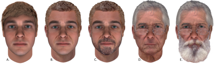 Five faces, aged 25 through 75, some with beards and some without